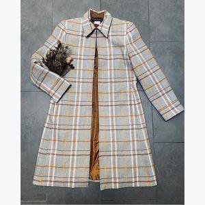 Vtg Wool Plaid Coat